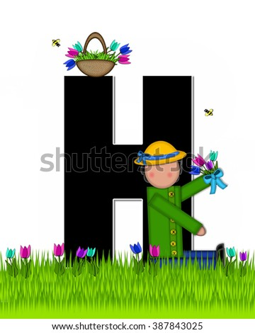 "The letter H, in the alphabet set ""Children Tulip Patch"" is black outlined with white.  Children hold tulip bouquet and stand in colorful tulip patch. - stock photo"