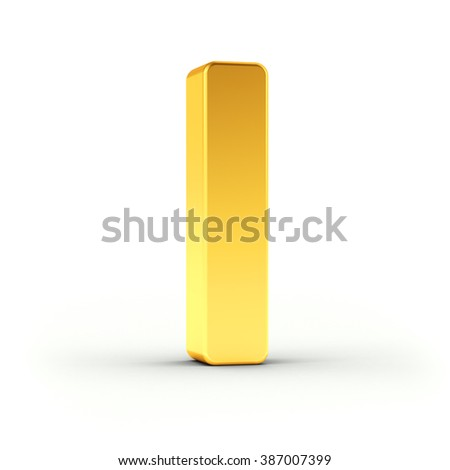The Letter I as a polished golden object over white background with clipping path for quick and accurate isolation. - stock photo
