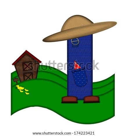 """The letter I, in the alphabet set """"Down on the Farm,"""" is dressed in denim overalls complete with pockets.  Letter sits on farm scene with rolling hills, barn, and ducks. - stock photo"""