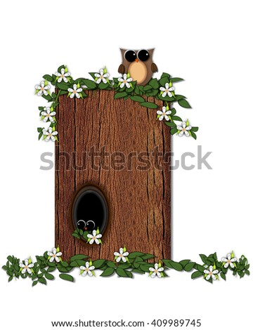 "The letter I, in the alphabet set ""Log Home"" is filled with wood texture.  Flower bloom on vines hanging on letter.  One owl hides in knothole and the other outside the stump home.  - stock photo"