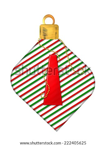 "The letter I, in the alphabet set ""Pinstripe Ornament"", is red.  Letter sits on red and green striped Christmas ornament. - stock photo"