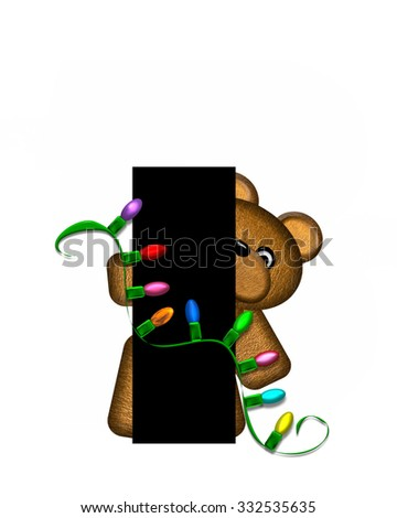 """The letter I, in the alphabet set """"Teddy Christmas Lights,"""" is black. Teddy Bear holds a string of Christmas lights and decorates letter. - stock photo"""