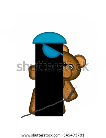 "The letter I, in the alphabet set ""Teddy Dental Checkup,"" is black.  Teddy bear represents dentist holding various dental tools.   - stock photo"