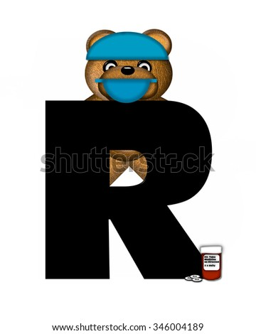"The letter , in the alphabet set ""Teddy Dental Checkup,"" is black.  Teddy bear wearing a dental mask and hat represents dentist holding various dental tools.   - stock photo"