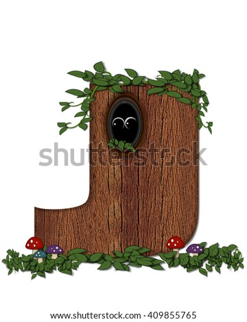 """The letter J, in the alphabet set """"Log"""" is filled with wood texture.  Vines and colorful mushrooms grow around letter.  Some letters have knot holes with peeking eyes. - stock photo"""
