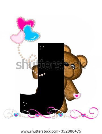 """The letter J, in the alphabet set """"Teddy Valentine's Cutie,"""" is black.  Brown teddy bear holds heart shaped balloons in pink and blue.  String of pearls serve as string. - stock photo"""