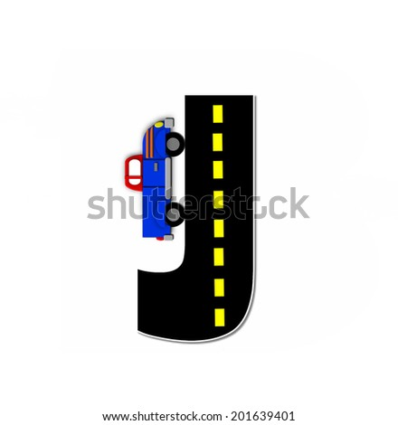 "The letter J, in the alphabet set ""Transportation by Road"", is black with yellow dividing line representing a black top road.  Colorful, motorized vehicle navigates outside of letter. - stock photo"