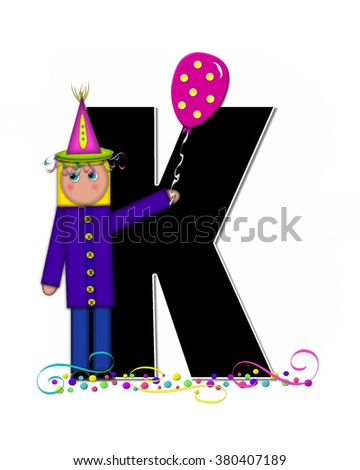 "The letter K, in the alphabet set ""Children Birthday Celebration"" is black and trimmed with white.  Child is wearing party hat and surrounded by balloons and confetti."