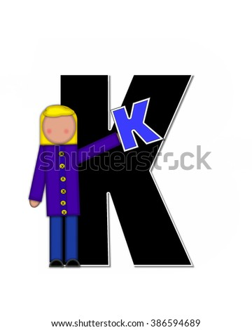 "The letter K, in the alphabet set ""Children Playing ABCs"" is black outlined with white.  Children hold up colorful, matching, alphabet letter. - stock photo"