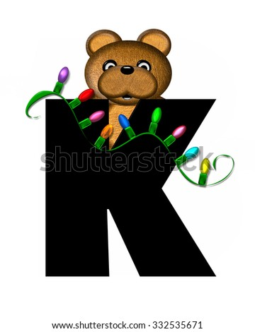 """The letter K, in the alphabet set """"Teddy Christmas Lights,"""" is black. Teddy Bear holds a string of Christmas lights and decorates letter. - stock photo"""