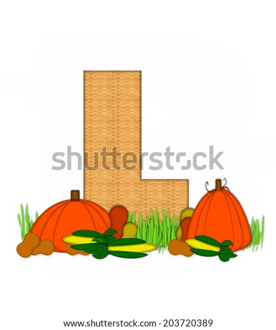 "The letter L, in the alphabet set ""Blessed Bounty"", is filled with wicker texture.  Letter sits in grassy field surrounded by Fall vegetables. - stock photo"