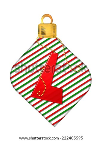 "The letter L, in the alphabet set ""Pinstripe Ornament"", is red.  Letter sits on red and green striped Christmas ornament. - stock photo"