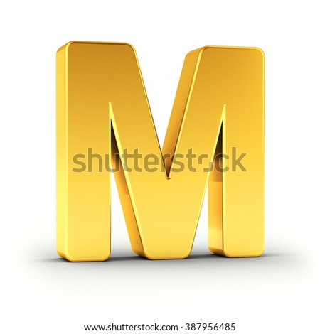 The Letter M as a polished golden object over white background with clipping path for quick and accurate isolation. - stock photo