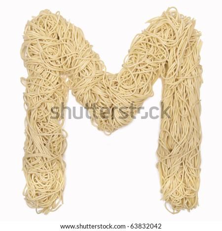 "the letter ""m"" in spaghetti - stock photo"