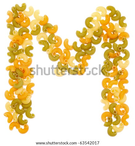 the letter M of pasta isolated on white - stock photo