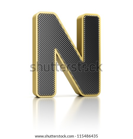 The letter N as a perforated metal object over white - stock photo