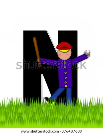 """The letter N, in the alphabet set """"Children Baseball"""" is black and trimmed with white.  Child is playing baseball in a field of green grass.  Equipment includes bat, ball and glove. - stock photo"""