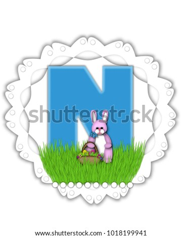 Letter N Alphabet Set Easter Bunny Stock Illustration