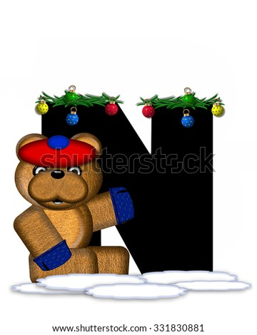 """The letter N, in the alphabet set """"Teddy Christmas Boughs,"""" is black and sits on pile of snow.  Teddy Bear wearing cap and mittens, decorates letter with Christmas boughs and ornaments. - stock photo"""