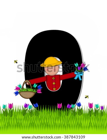 "The letter O, in the alphabet set ""Children Tulip Patch"" is black outlined with white.  Children hold tulip bouquet and stand in colorful tulip patch. - stock photo"