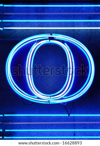 "The letter ""O"" shown with neon lights - stock photo"