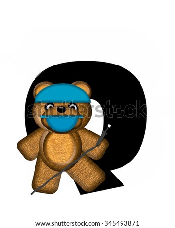 "The letter Q, in the alphabet set ""Teddy Dental Checkup,"" is black.  Teddy bear wearing a dental mask and hat represents dentist holding various dental tools.   - stock photo"