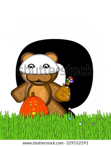 "The letter Q, in the alphabet set ""Teddy Trick or Treats,"" is black and decorated with a brown teddy bear.  He is wearing a ghost mask and holding a bag of candy.  Pumpkin sits besides letter."