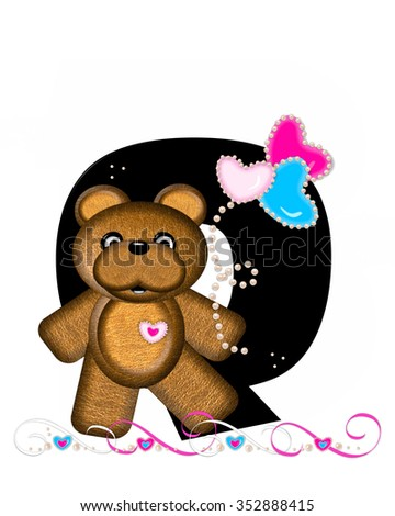 """The letter Q, in the alphabet set """"Teddy Valentine's Cutie,"""" is black.  Brown teddy bear holds heart shaped balloons in pink and blue.  String of pearls serve as string. - stock photo"""