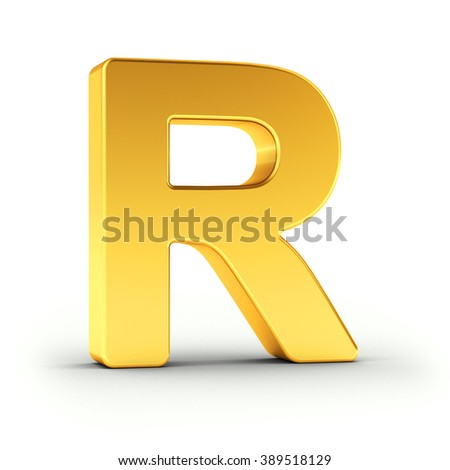 The Letter R as a polished golden object over white background with clipping path for quick and accurate isolation. - stock photo
