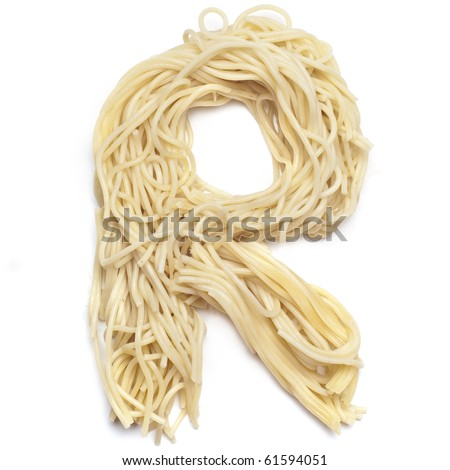 The letter R in spaghetti - stock photo
