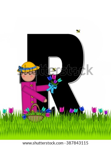 "The letter R, in the alphabet set ""Children Tulip Patch"" is black outlined with white.  Children hold tulip bouquet and stand in colorful tulip patch. - stock photo"