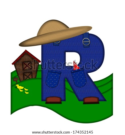 """The letter R, in the alphabet set """"Down on the Farm,"""" is dressed in denim overalls complete with pockets.  Letter sits on farm scene with rolling hills, barn, and ducks. - stock photo"""