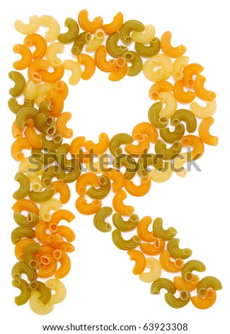 the letter R of pasta isolated on white - stock photo