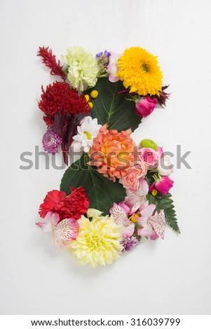 The letter s consists of flowers. Flower alphabet
