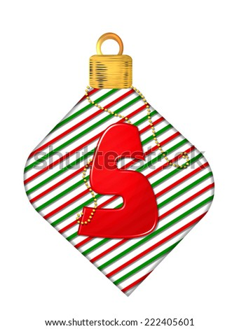"The letter S, in the alphabet set ""Pinstripe Ornament"", is red.  Letter sits on red and green striped Christmas ornament. - stock photo"