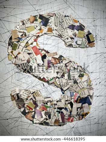 The letter  S made from newspaper confetti - stock photo