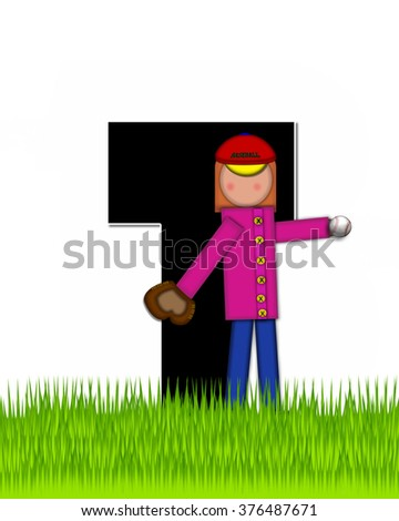 """The letter T, in the alphabet set """"Children Baseball"""" is black and trimmed with white.  Child is playing baseball in a field of green grass.  Equipment includes bat, ball and glove. - stock photo"""