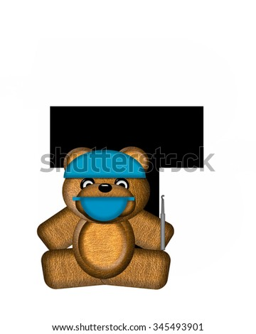 "The letter T, in the alphabet set ""Teddy Dental Checkup,"" is black.  Teddy bear wearing a dental mask and hat represents dentist holding various dental tools.   - stock photo"