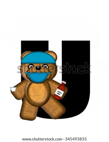 "The letter U, in the alphabet set ""Teddy Dental Checkup,"" is black.  Teddy bear wearing a dental mask and hat represents dentist holding various dental tools.   - stock photo"