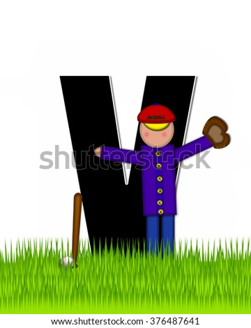 """The letter V, in the alphabet set """"Children Baseball"""" is black and trimmed with white.  Child is playing baseball in a field of green grass.  Equipment includes bat, ball and glove. - stock photo"""