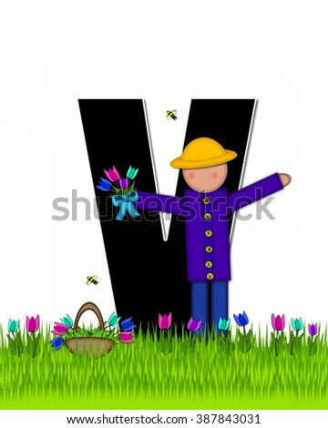 "The letter V, in the alphabet set ""Children Tulip Patch"" is black outlined with white.  Children hold tulip bouquet and stand in colorful tulip patch. - stock photo"