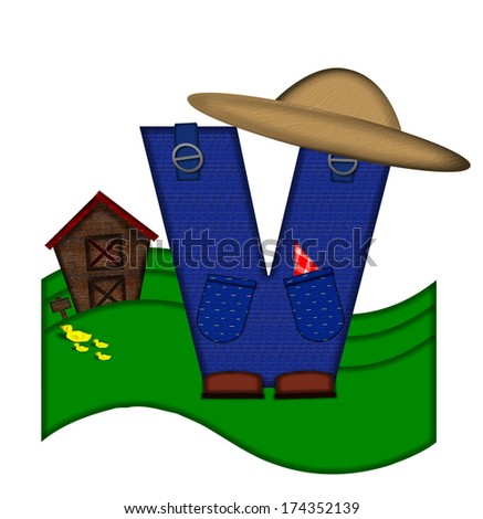 """The letter V, in the alphabet set """"Down on the Farm,"""" is dressed in denim overalls complete with pockets.  Letter sits on farm scene with rolling hills, barn, and ducks. - stock photo"""