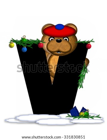 """The letter V, in the alphabet set """"Teddy Christmas Boughs,"""" is black and sits on pile of snow.  Teddy Bear wearing cap and mittens, decorates letter with Christmas boughs and ornaments. - stock photo"""