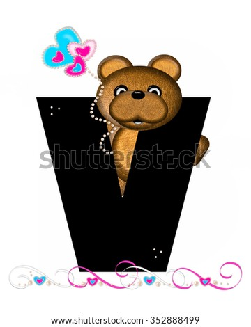 """The letter V, in the alphabet set """"Teddy Valentine's Cutie,"""" is black.  Brown teddy bear holds heart shaped balloons in pink and blue.  String of pearls serve as string. - stock photo"""