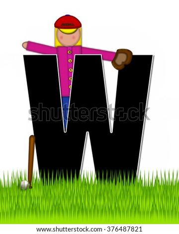 """The letter W, in the alphabet set """"Children Baseball"""" is black and trimmed with white.  Child is playing baseball in a field of green grass.  Equipment includes bat, ball and glove. - stock photo"""