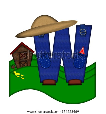 """The letter W, in the alphabet set """"Down on the Farm,"""" is dressed in denim overalls complete with pockets.  Letter sits on farm scene with rolling hills, barn, and ducks. - stock photo"""