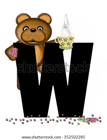 """The letter W, in the alphabet set """"Teddy Tea Time,"""" is black.  Teddy bear enjoys a cup of hot tea with heart shaped and frosted cookies.  Candy sprinkles cover floor. - stock photo"""