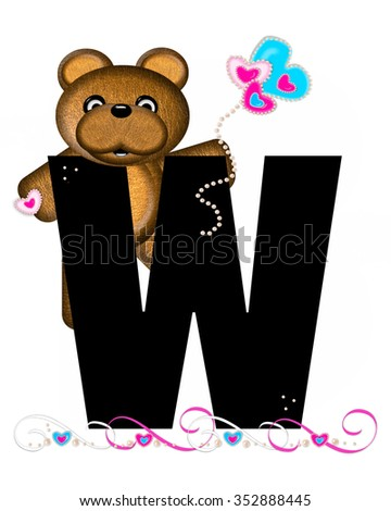 """The letter W, in the alphabet set """"Teddy Valentine's Cutie,"""" is black.  Brown teddy bear holds heart shaped balloons in pink and blue.  String of pearls serve as string. - stock photo"""
