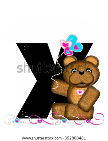 """The letter X, in the alphabet set """"Teddy Valentine's Cutie,"""" is black.  Brown teddy bear holds heart shaped balloons in pink and blue.  String of pearls serve as string. - stock photo"""
