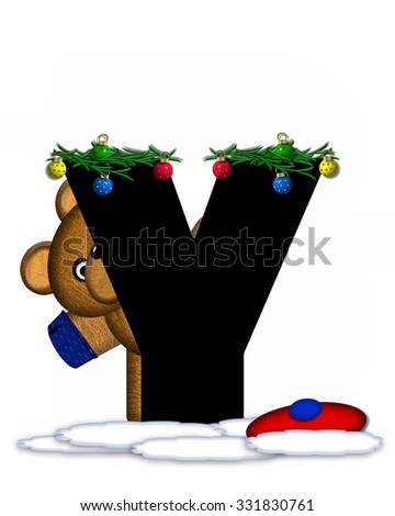 """The letter Y, in the alphabet set """"Teddy Christmas Boughs,"""" is black and sits on pile of snow.  Teddy Bear wearing cap and mittens, decorates letter with Christmas boughs and ornaments. - stock photo"""